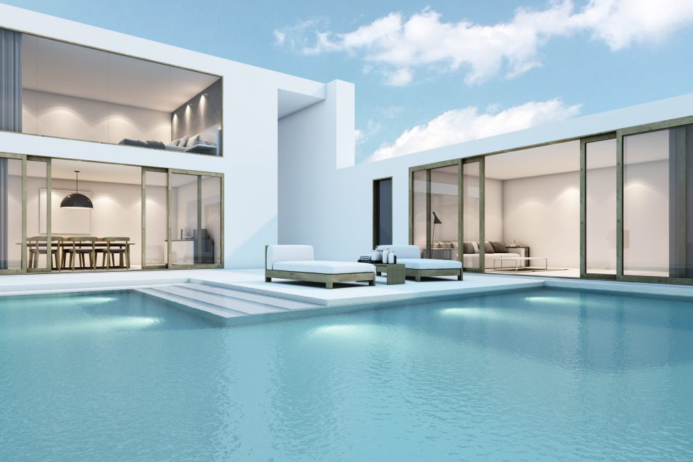 House with pool design minimal - 3D render